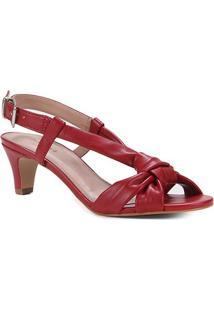 Sandália Shoestock Tiras Comfy Salto Baixo Feminina - Feminino-Vermelho