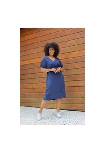 Vestido Midi Almaria Plus Size Uva Doce Botões Forrados Azul