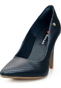 Scarpin Love Shoes Social Bico Fino Salto Alto Basico Snake Cobra Preto