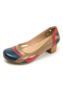 Sapato Miuzzi Peep Toe 3121 Azul - Rubi - Taupe