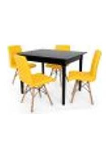 Conjunto Mesa De Jantar Robust 110X90 Preta Com 4 Cadeiras Eiffel Gomos - Amarela