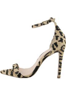 Sandália Salto Fino Cocco Miami Leopardo Bege