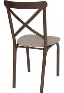 Conjunto De Mesa Tampo Em Vidro Com 4 Cadeiras Karina Ciplafe Bronze/Linho Bege
