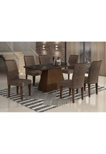 Conjunto De Mesa Lunara Ii 180 Cm Com 6 Cadeiras Suede Amassado Castor E Chocolate
