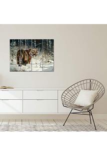 Placa Painel Decorativa Em Mdf Foto Tigre Kit 4 Placas