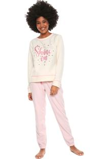 Pijama Censato Shine On Bege/Rosa