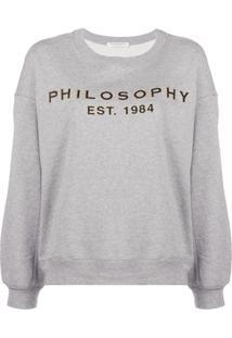 Philosophy Di Lorenzo Serafini Blusa De Moletom Com Logo - Cinza