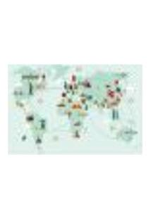 Painel Adesivo De Parede - Mapa Mundi - Mundo - 1338Pnm