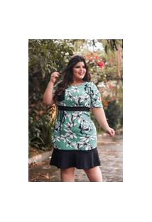 Vestido Plus Size Estampado Flores Peplum