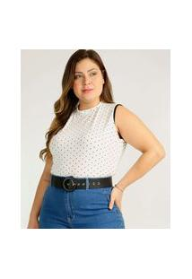 Body Plus Size Feminino Bolinhas High Neck Sem Manga