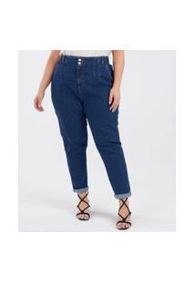 Calça Mom Jeans Com Bolsos Curve & Plus Size | Ashua Curve E Plus Size | Azul | 46