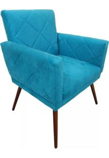 Poltrona Decorativa Pés Tabaco Nina Estilo Costura Azul - Ds Móveis
