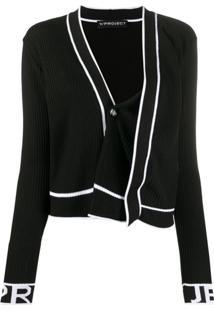 Y/Project Cardigan Assimétrico De Tricô Canelado - Preto