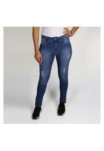 Calça Jeans Feminina Skinny Com Rasgos Azul Médio