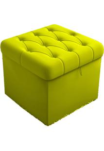 Puff Baú Porta Objetos Capitonê 48 Cm Suede 390 Lymdecor Amarelo