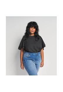 Blusa Em Crepe Com Manga Babado E Aplicação No Decote Curve & Plus Size | Ashua Curve E Plus Size | Preto | G