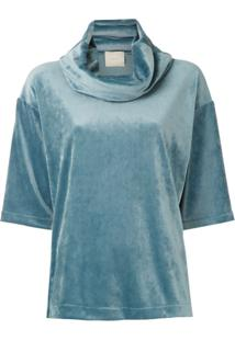 Framed Blusa Soft Velvet Gola Alta Ampla - Azul