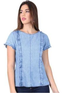 Blusa Latifundio Jeans Detalhes Feminina - Feminino-Azul