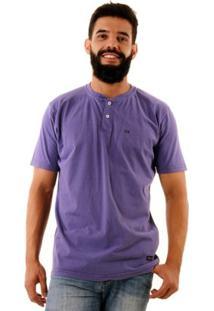 Camiseta Oitavo Ato Henley Stone Masculina - Masculino-Roxo