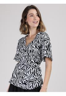 Blusa Feminina Transpassada Estampada Animal Print Zebra Manga Curta Decote V Off White