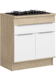 Armário De Cozinha 2 Portas Para Cooktop Com Rodapés Cs601R Acácia/Branco - Decibal Móveis