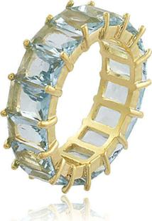 Anel Viva Jolie Aquamarine Fusion Riviera Retângulos Banho Em Ouro - Kanui