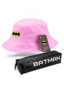 Chapéu Bucket Moda Praia Rosa Personalizado Batman Com Estojo Escolar