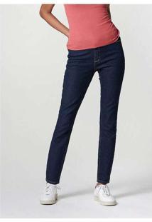 Calça Jeans Feminina Skinny Cintura Média Azul-Mar