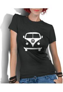 Camiseta Criativa Urbana Kombi Carro Antigo Clássico - Feminino-Preto