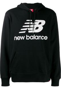 New Balance Moletom Com Logo E Cordão De Ajuste - Preto