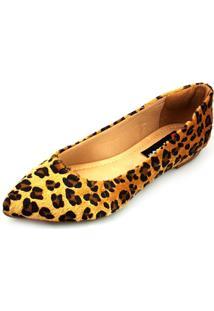 Sapatilha Love Shoes Bico Fino Confort Onça