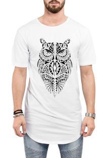 Camiseta Criativa Urbana Long Line Oversized Coruja Tribal Branca