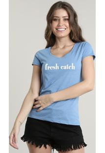 "Blusa Feminina ""Fresh Catch"" Manga Curta Decote Redondo Azul"