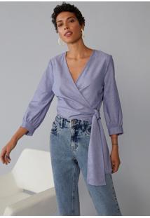 Blusa Amaro Transpassada Decote V Azul Indigo - Azul - Feminino - Dafiti