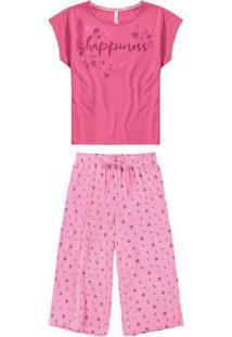 Pijama Rosa Escuro Pantacourt Happiness