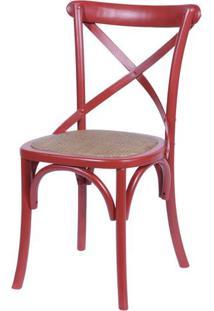 Cadeira Katrina Vermelha Laqueada Com Assento Rattan - 30751 - Sun House