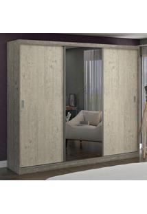 Guarda-Roupa Casal 3 Portas Com 1 Espelho 100% Mdf 7320E1 Demoli/Marfim Areia - Foscarini