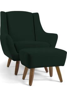 Poltrona Decorativa Com Puff Sala De Estar Pés De Madeira Naomi Algodão Verde Escuro - Gran Belo