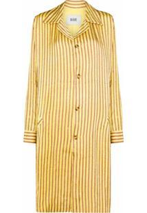 Bode Casaco Longo Mashroo Com Listras - Amarelo