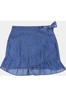 Saia Cambos Curta Plus Size Babado E Amarração Lateral - Feminino-Azul
