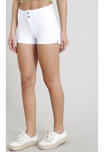 Short De Sarja Feminino Pull Up Branco