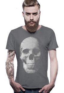Camiseta Joss Estonada Corte À Fio Caveira - Chumbo