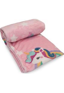 Cobertor Prime Flannel Hazime Unicórnio Rosa