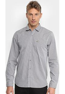 Camisa Xadrez Lacoste Manga Longa Masculina - Masculino-Preto