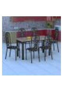 Conjunto De Mesa Com 6 Cadeiras Granada Preto Floral Gr