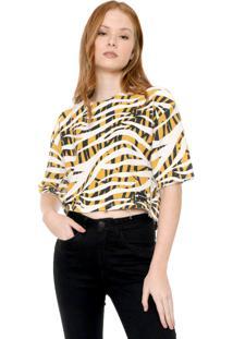 Blusa Calvin Klein Jeans Estampada Amarela
