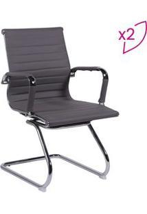 Or Design Jogo De Cadeiras Office Eames Esteirinha Cinza & Prateado 2P