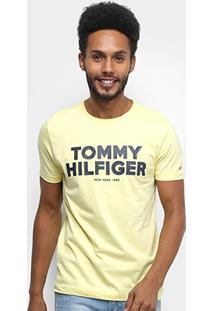 Camiseta Tommy Hilfiger Estampada Masculina - Masculino-Amarelo