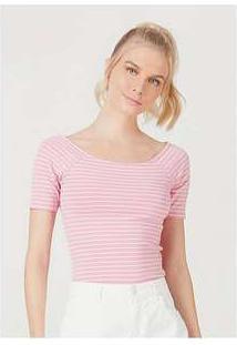 Blusa Básica Feminina Em Malha De Algodão Com Decote Canoa Rosa