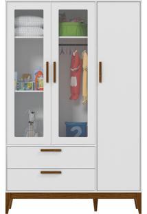 Roupeiro 3 Portas Glass Nature Branco-Acetinado E Eco Wood Matic Móveis